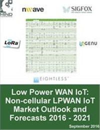 Low Power WAN Internet of Things (IoT): Non-cellular LPWAN IoT Market Outlook and Forecasts 2016 - 2021