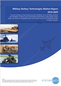 Military Battery Technologies Market Report 2019-2029